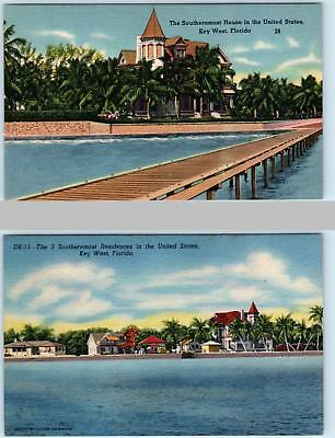 2 Postcards  KEY WEST, Florida  FL   SOUTHERNMOST HOMES in United States  1940s