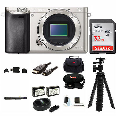 Sony Alpha A6000 Mirrorless Digital Camera Body (Silver) w/ 32GB Kit
