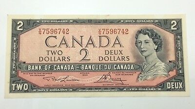 1954 Canada 2 Two Dollars Prefix VG Canadian Bill Uncirculated Banknote E294