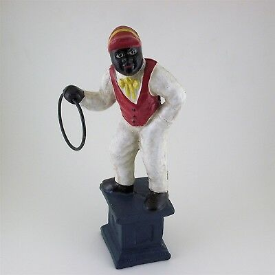 Jocko Black Lawn Jockey Bookend Door Stop Statue Cast Iron