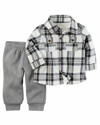 Carter/'s Infant Boys 2-Piece Sherpa-Lined Button-Front Top /& Fleece Pant Set NWT