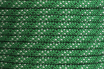 Polyester Double Braided Rope 12mm x 100m, Green/White Fleck