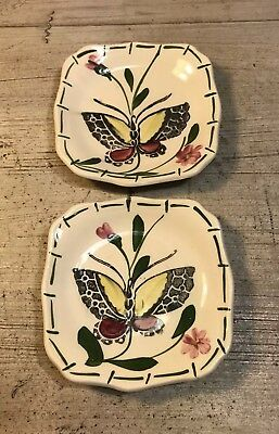 Set of 2 Vintage Unmarked Butterfly and Floral Design Butter Pats