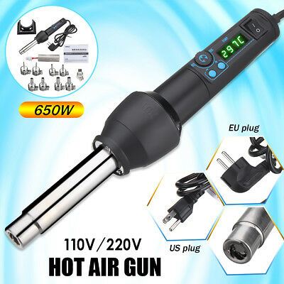 650W 220V LED Adjustable Electronic Heat Hot Air Gun Toll +9 Nozzle+Heating Core