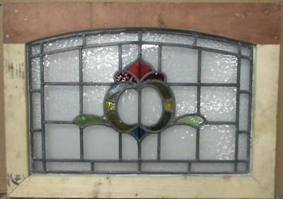 """MID SIZED OLD ENGLISH LEADED STAINED GLASS WINDOW Gorgeous Abstract 30"""" x 21.25"""""""
