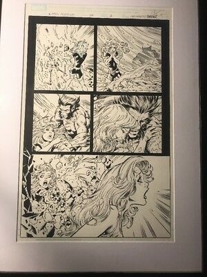 X-Men Forever Original comic art, Issue 24 , Page 2 Signed by artist and framed.