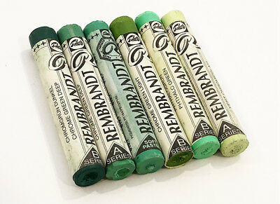 Rembrandt Soft Pastels 6 Mixed Shades Of Green. Full Sticks. Lot 008. Bargain!