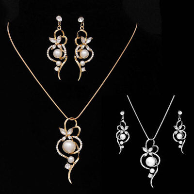 Shiny Silver and Pearl Diamante Necklace and Earring Set Costume Fashion Jewellery ToU0NvlNG0