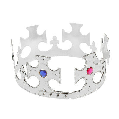 3x King Queen Princess Plastic Crown Tiara Hat Costume Accessories Silver