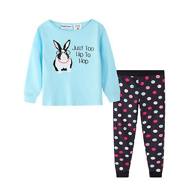 Girls PJS Size 3-7 Winter 2pc Long Pure Cotton Set Blue Bunny (807) LAST ONE