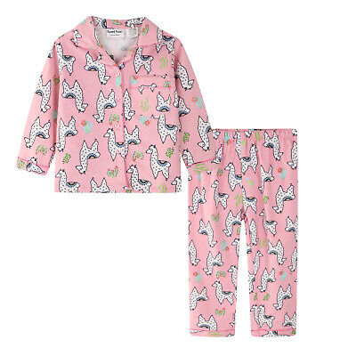 Girls Pyjamas Winter Flannel Long 100% Pure Cotton Pjs (803) Pink Lama Sz 3-7