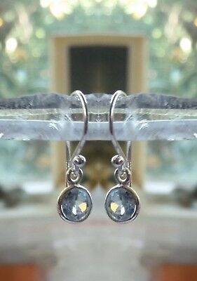 315g Blue Topaz 6mm faceted gems solid 925 sterling silver earrings RRP $34.95