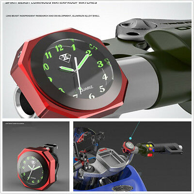 Motorcycle Handlebar Red Luminous Electronic Clock Time Gauge Alloy+Stainless