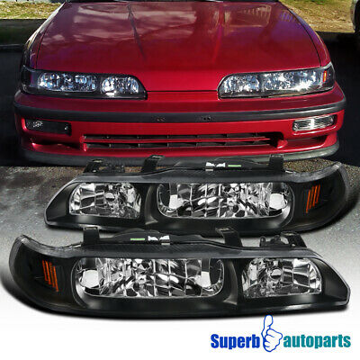 For 90-93 Acura Integra 1 Piece Style Headlights Black Replacement LEFT+RIGHT