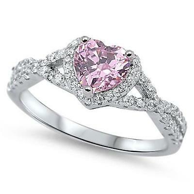 PINK HEART ~ Ladies Genuine 925 STERLING SILVER RING ~ Size 11 12 13 /  W Y Z