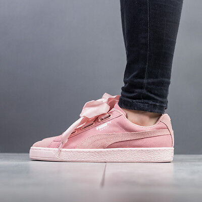 PUMA SUEDE HEART Pebble Wns Peach Beige Pink Bow Women Shoes