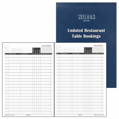Wildon 580W Undated Restaurant Cafe Table Bookings Book 160 Pages Navy Blue NEW