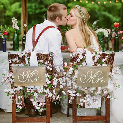 Mr. and Mrs. Burlap Chair Banner Set Chair Sign Rustic Wedding Party Decor