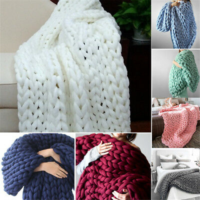 Warm Handmade Chunky Knitted Blanket Thick Yarn Merino Knit Throw Bed Sofa DIY