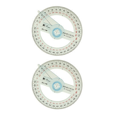 2Pc 10cm Plastic 360 Degree Pointer Protractor Angle Ruler for School Office