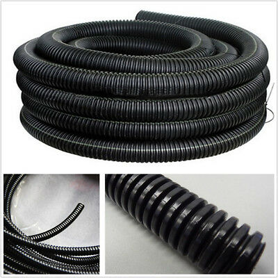 18.5mm Split Wire Loom Conduit 65.6 Ft. Black Polyethylene Tubing Car Power Amp