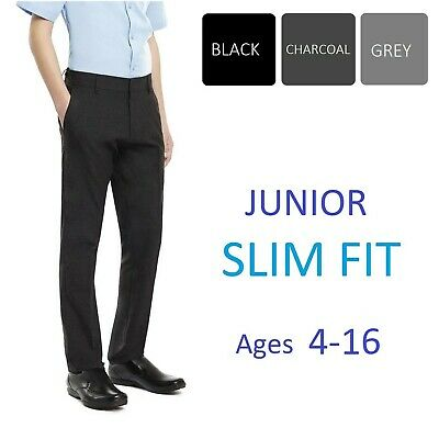 Boys Black/ Charcoal/ Mid Grey Navy Slim Fit Skinny School Trousers Age 4-16