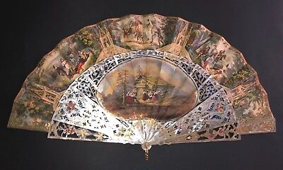Gorgeous Antique French Mother Of Pearl Gothic Style Figural Scene Fan Grapes