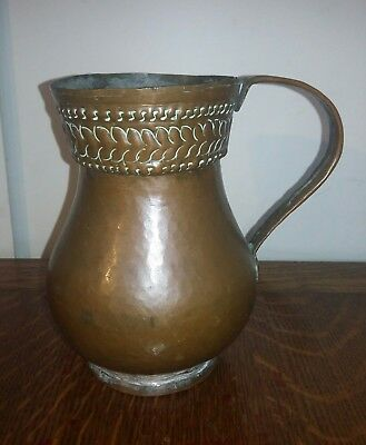 Hand beaten copper jug vintage antique perfect vase arts and crafts