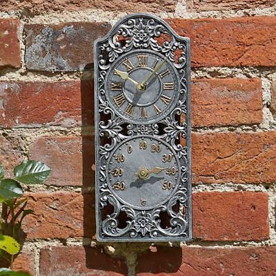 30cm Victorian Style Outdoor Garden Wall Clock and thermometer Rustic Antique