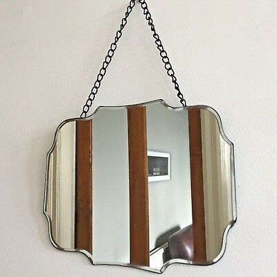 Vintage Style Frameless Mirror Bevelled Curved Scalloped Chain NEW Small 25x20cm