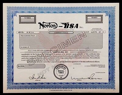Norton - BSA SPECIMEN Stock Certificate- 2 OF THE BEST MOTORCYCLE COMPANIES EVER