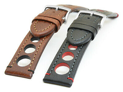 HIRSCH RALLY WATCH STRAP RACING CALF LEATHER 18, 20, 22, 24 mm US