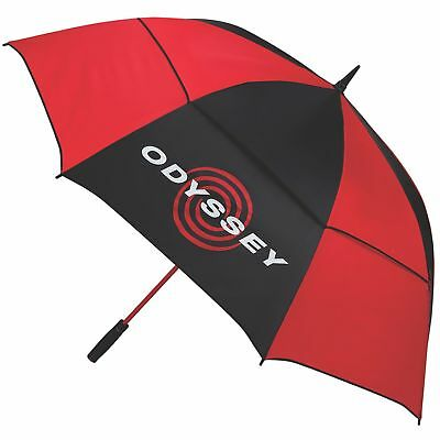 New Odyssey 68 Inch Double Canopy Golf Umbrella- Black/Red