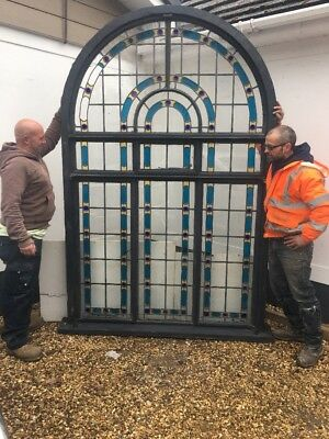 V LARGE ART DECO STAINED GLASS WINDOW PANEL ANTIQUE PERIOD OLD RECLAIMED 20 30s.