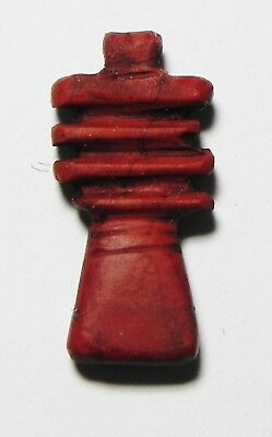 Zurqieh-As3201- Ancient Egypt, 19Th Dynasty, Red Jasper Djed Pillar Amulet