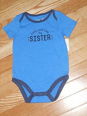 "NWT - Jumping Beans short sleeved blue ""Cool Like My Sister"" shirt - 12 mos boys"