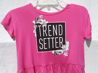 "Justice  Girls Short Sleeve Top Nwt Size 6 - Hot Pink ""Trend Setter"""