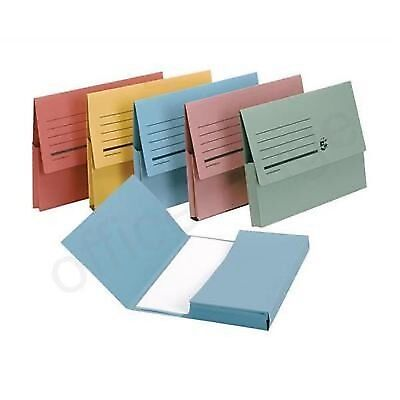A4 Pack of 5 DOCUMENT WALLET FOLDERS FIVESTAR BRAND CARDBOARD ENVELOPE FILING