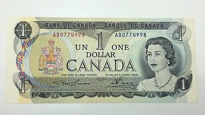 1973 Canada 1 One Dollar AB Prefix Canadian Uncirculated Banknote E304