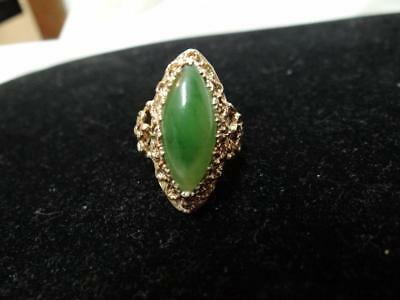 Beautiful Large Vintage 10K Yellow Gold Jade Ring Estate Sz. 6