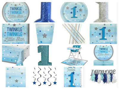 One Little Star Boys 1st First Birthday Party Bags Cups Plates Napkins Invites