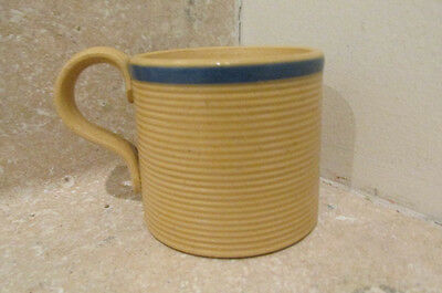 S38 antique yellow ware art pottery crockery type childs cup handle blue band