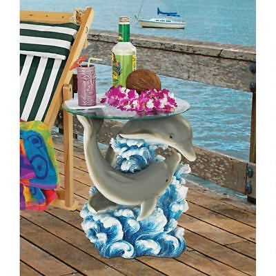 Unique Furniture Round Glass Top Side Table Dolphin Fish Tropical Patio Decor