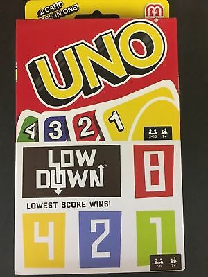 UNO & Low Down Card Games by Mattel 2 Games in One Package New