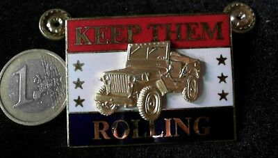 Jeep ´´KEEP THEM ROLLING `´ Brosche Brooch kein Pin Badge