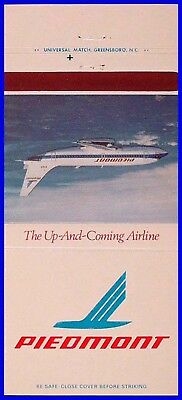 MINT 1970s Piedmont Airlines Photo 30s Matchbook Cover Matchcover