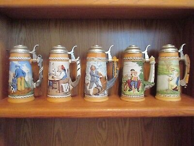 Norman Rockwell Beer Steins - Full Limited Edition Set of 5  FREE SHIPPING