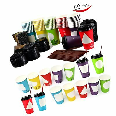 60 Coffee Cups with Lids , 12 Ounce Disposable Paper Coffee Cups with Lids , ...