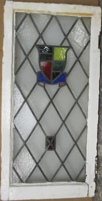"""MID SIZED OLD ENGLISH LEADED STAINED GLASS WINDOW Gorgeous Shield 17"""" x 35"""""""