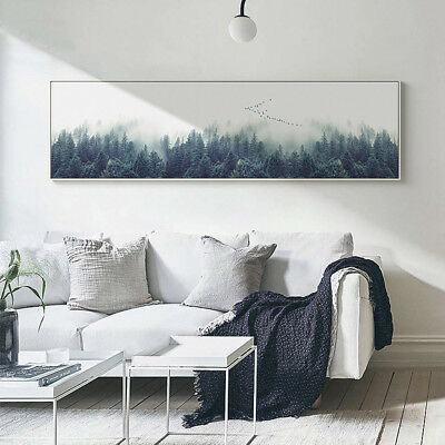 Foggy Forest Landscape Canvas Poster Wall Art Long Print Nordic Home Decoration